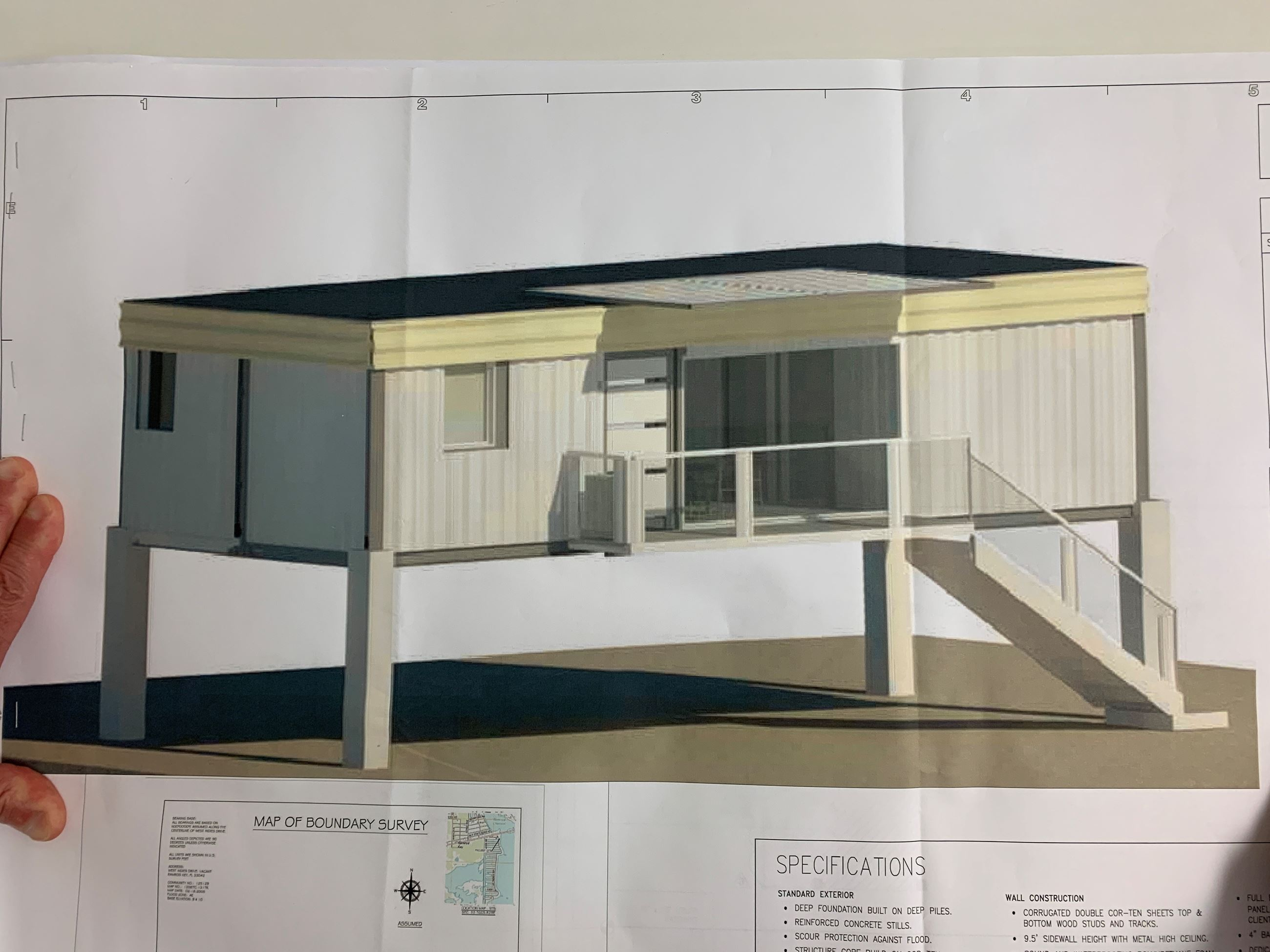 Rendering of a container home on stilts